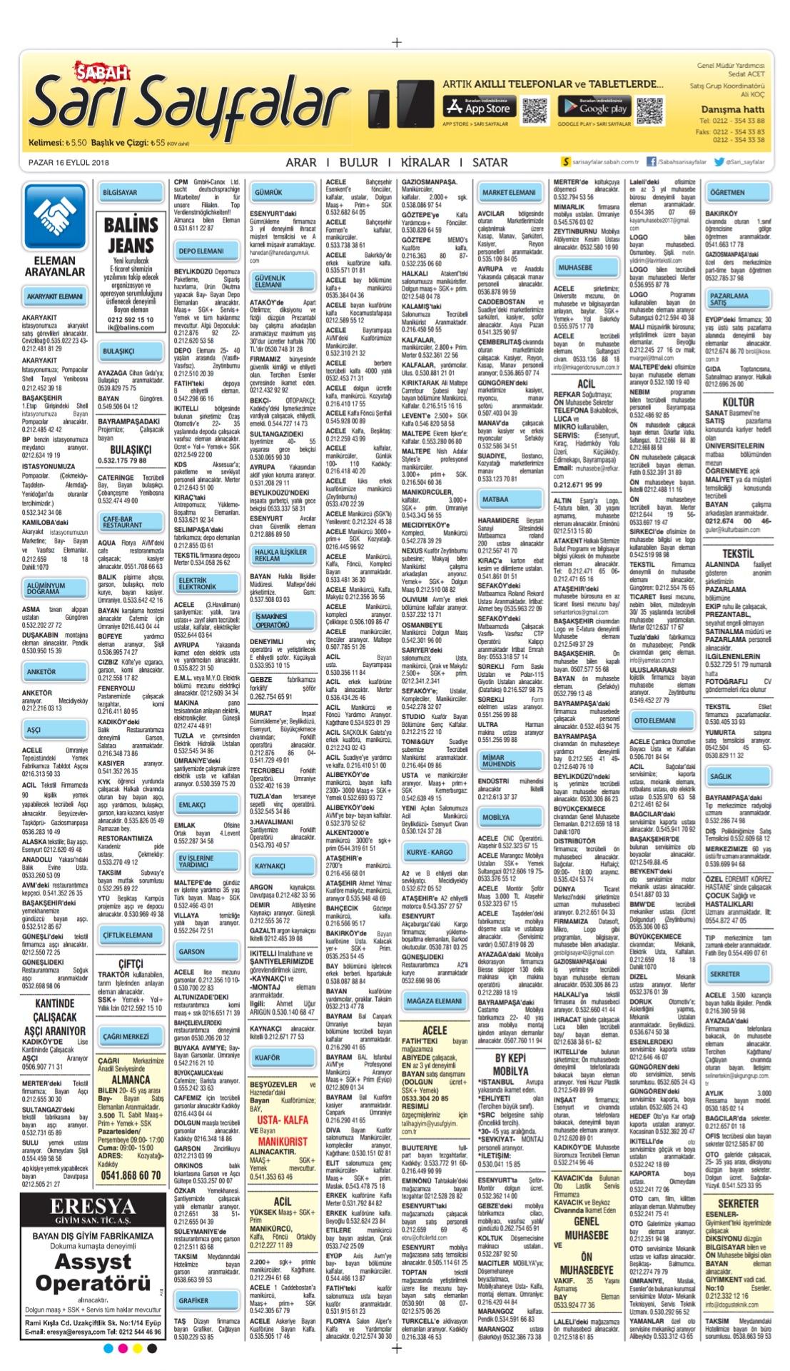 Sabah Bugünkü Sarı Sayfalar- 16.09.2018-1